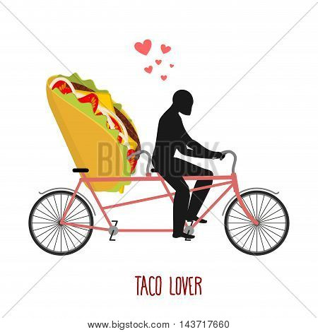 Lover Taco. Mexican Food On Bicycle. Lovers Of Cycling. Man Rolls Fast Food On Tandem. Joint Walk Wi