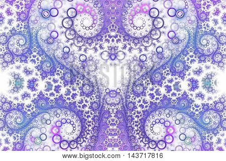 Abstract intricate spiral ornament on white background. Symmetrical pattern. Fantasy fractal design in bright blue violet and pink colors.