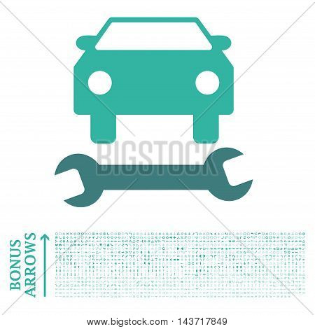 Car Repair icon with 1200 bonus arrow and navigation pictograms. Vector illustration style is flat iconic bicolor symbols, cobalt and cyan colors, white background.