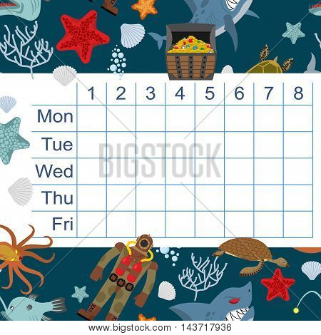 Schedule For Students. Timetable With Lessons For Children. Design Of Underwater World: Shark And Wh