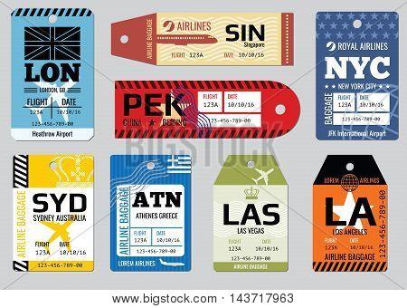 Vintage luggage tags, travel labels vector set. Badge for baggage, cardboard coupon illustration