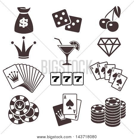 Gambling, and poker card game, casino luck vector icons set. Play in dice and blackjack illustration
