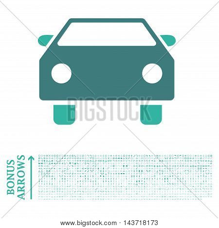 Car icon with 1200 bonus arrow and navigation pictograms. Vector illustration style is flat iconic bicolor symbols, cobalt and cyan colors, white background.