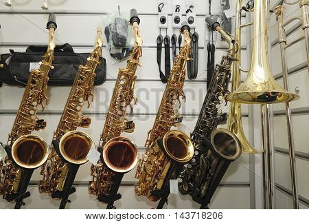 Saxophone  On The Background Music Store