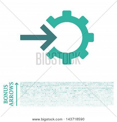 Cog Integration icon with 1200 bonus arrow and direction pictograms. Vector illustration style is flat iconic bicolor symbols, cobalt and cyan colors, white background.