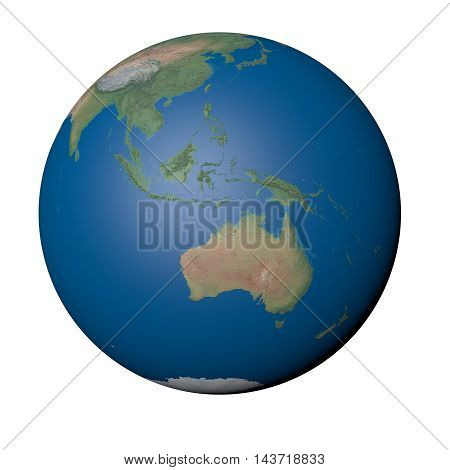 Australasia on Earth - White Background, 3D Illustration