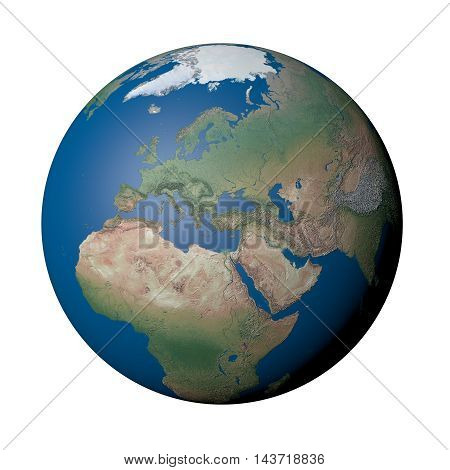 Europe on Earth on Earth - White Background, 3D Illustration