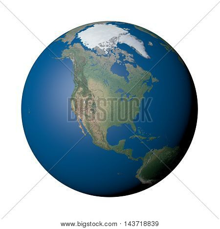North America on Earth - White Background, 3D Illustration