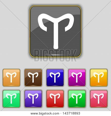 Decorative Zodiac Aries Icon Sign. Set With Eleven Colored Buttons For Your Site. Vector