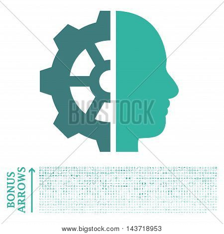 Cyborg Gear icon with 1200 bonus arrow and direction pictograms. Vector illustration style is flat iconic bicolor symbols, cobalt and cyan colors, white background.