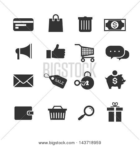 E-commerce shopping vector icons set. Money and sale tag, basket for purchase illustration