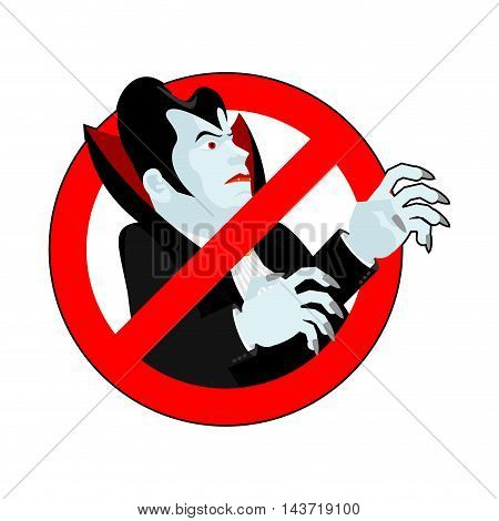 Stop Vampire. It Is Forbidden To Drink Blood. Crossed-silhouette Dracula. Emblem Against Bloodsucker