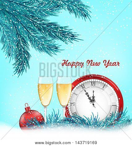 Illustration Happy New Year Background with Traditional Objects - Vector