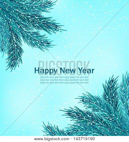 Illustration Happy New Year Background with Fir Branches - Vector