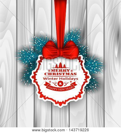 Illustration Winter Label Wishes Card with Red Bow Ribbon and Blue Pine Branches, on Wooden Background - Vector