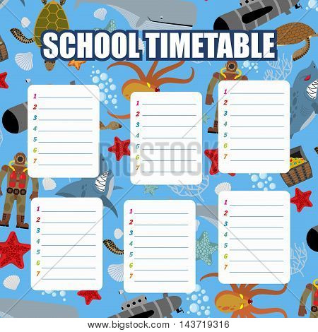 School Timetable. Schedule. Back To School. Underwater World: Shark And Whale. Diver And Turtle. Sub