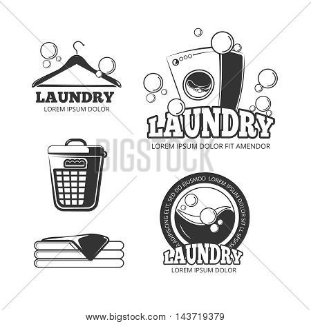 Clean laundry washing vintage vector labels, emblems, logos, badges set. Wash machine and bucket for dirty clothes illustation