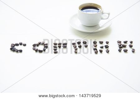 Coffee cup on wooden table white ,soft focus