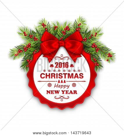 Illustration Round Banner with Red Ribbon and Bow for Happy New Year 2016 and Merry Christmas. Greeting Card Template - Vector