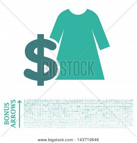 Dress Price icon with 1200 bonus arrow and navigation pictograms. Vector illustration style is flat iconic bicolor symbols, cobalt and cyan colors, white background.