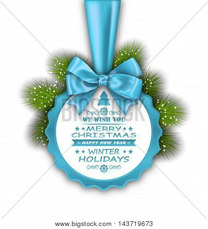 Illustration Merry Christmas Elegant Card with Bow Ribbon and Pine Twigs - Vector