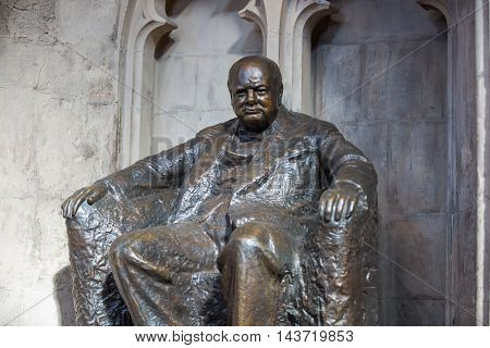 LONDON, UK - SEPTEMBER 20, 2015: Winston Churchill. Interior of Guildhall Yard, dated back to 1396 year. Hall contains memorials to  Admiral Lord Nelson, the Duke of Wellington, William Beckford, and Winston Churchill.