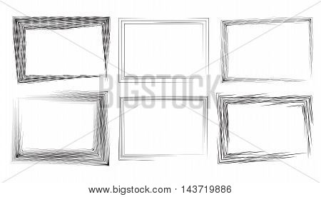 Set of rectangular frames with strokes and engraving. Vector element for your design