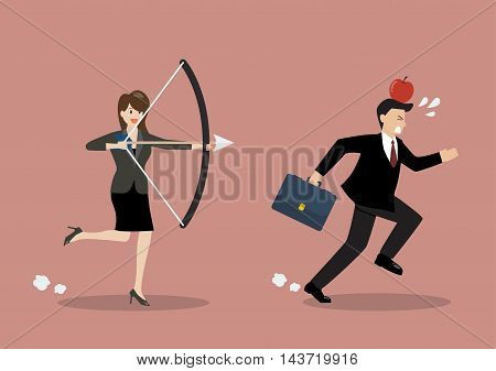 Business woman try to shoot at apple on colleague head. Business concept