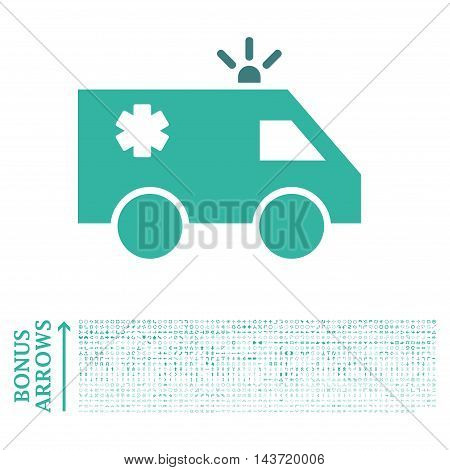 Emergency Car icon with 1200 bonus arrow and navigation pictograms. Vector illustration style is flat iconic bicolor symbols, cobalt and cyan colors, white background.