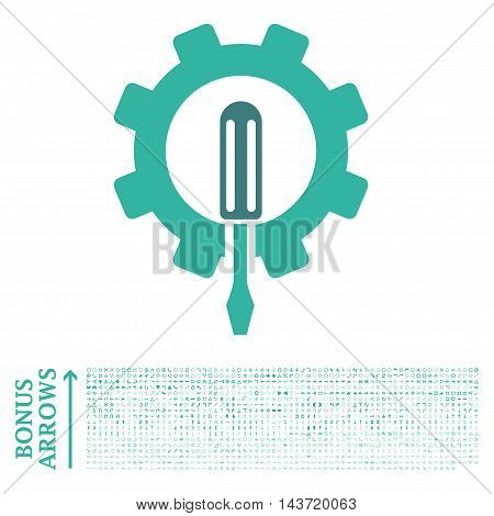 Engineering icon with 1200 bonus arrow and direction pictograms. Vector illustration style is flat iconic bicolor symbols, cobalt and cyan colors, white background.