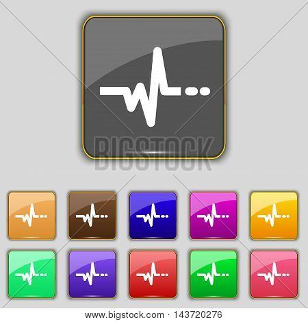 Pulse Icon Sign. Set With Eleven Colored Buttons For Your Site. Vector