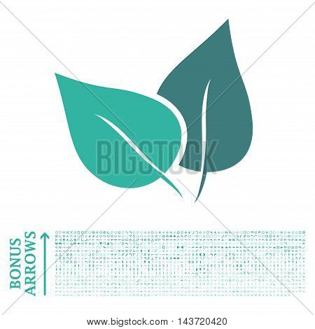 Flora Plant icon with 1200 bonus arrow and direction pictograms. Vector illustration style is flat iconic bicolor symbols, cobalt and cyan colors, white background.