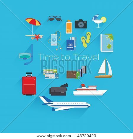 Time to travel poster template on blue background. Vector illustration
