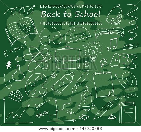 Back to School hand drawn set of vector sketches. Vintage design with various school stuff illustration against the background of the blackboard.