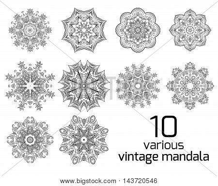 Big set of different vintage round patterns. Vector elements for postcards patterns and your design