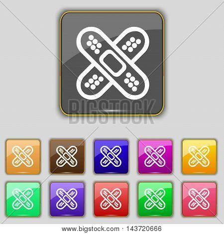 Adhesive Plaster Icon Sign. Set With Eleven Colored Buttons For Your Site. Vector
