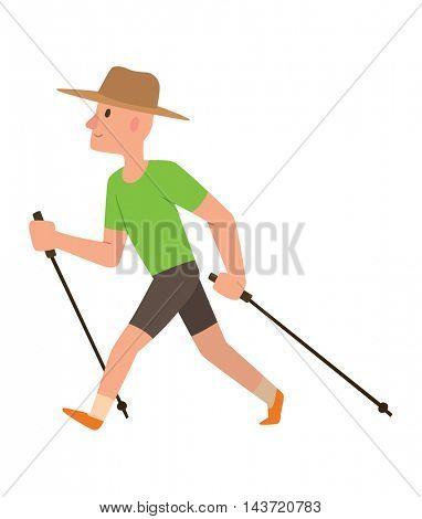 Nordic walking sport vector character
