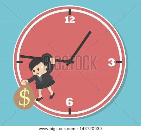 Business woman Worried executive running against on an arrow of clock