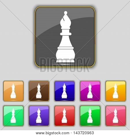 Chess Bishop Icon Sign. Set With Eleven Colored Buttons For Your Site. Vector