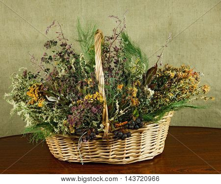Basket with healing herbs. Dried plant for use in alternative medicine. Herbal medicine phytotherapy medicinal herbs. For preparation of infusions decoctions tinctures powders ointments tea.