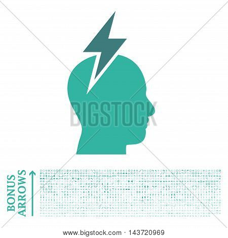 Headache icon with 1200 bonus arrow and direction pictograms. Vector illustration style is flat iconic bicolor symbols, cobalt and cyan colors, white background.
