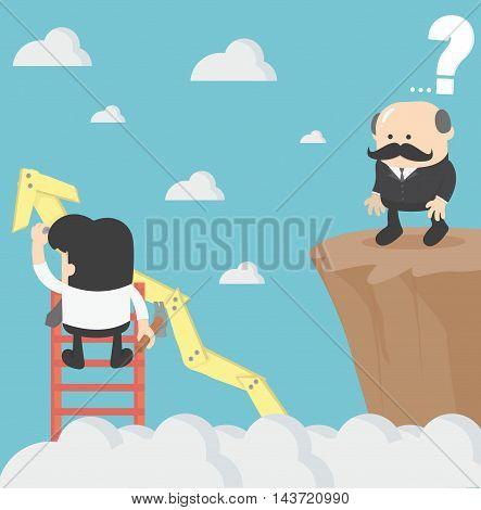 Businessman on graph vector eps .10 Illustration