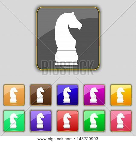 Chess Knight Icon Sign. Set With Eleven Colored Buttons For Your Site. Vector