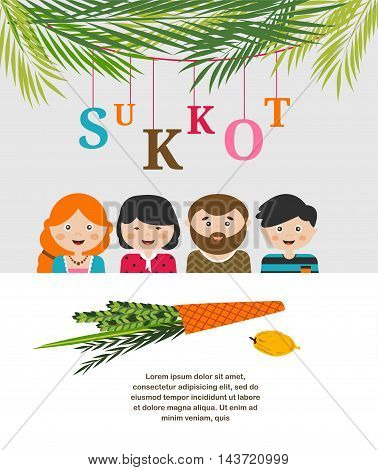 A Vector illustration of a Sukkah decorated with ornaments for the Jewish Holiday Sukkot. vector illustration