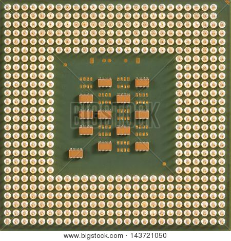 old computer processor chip (CPU) for background