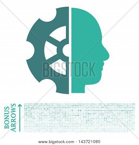 Intellect icon with 1200 bonus arrow and navigation pictograms. Vector illustration style is flat iconic bicolor symbols, cobalt and cyan colors, white background.