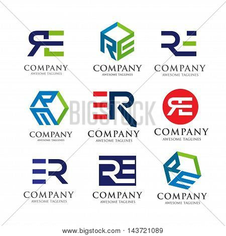 creative RE letter logo set, innovative RE letter vector set