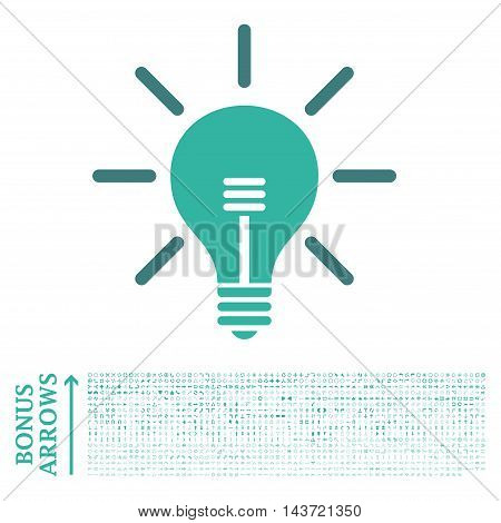 Light Bulb icon with 1200 bonus arrow and direction pictograms. Vector illustration style is flat iconic bicolor symbols, cobalt and cyan colors, white background.