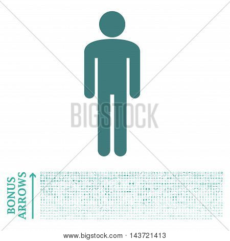 Man icon with 1200 bonus arrow and navigation pictograms. Vector illustration style is flat iconic bicolor symbols, cobalt and cyan colors, white background.