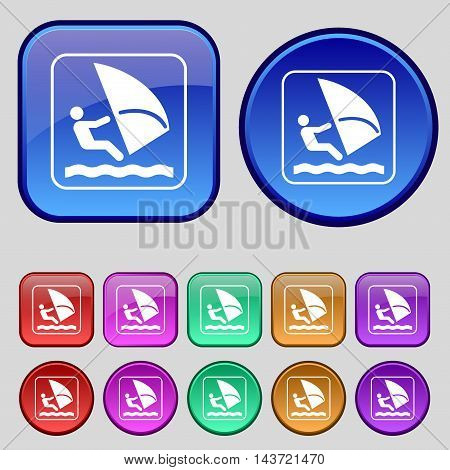 Windsurfing Icon Sign. A Set Of Twelve Vintage Buttons For Your Design. Vector
